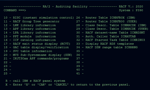 The RA 2 analytical capabilities in the mainframe RACF