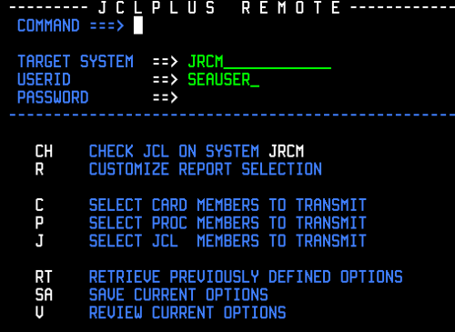 The main screen of JCLplus Remote