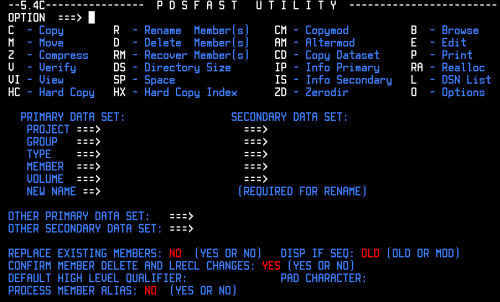 The interface of PDSFAST that allows for easy PDS compression and mainframe PDS management